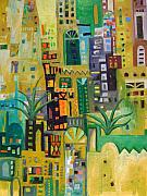 Old Iraqi City Paintings - City In Green by Yahya Batat