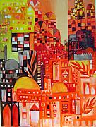 Baghdad Paintings - City In Red by Yahya Batat
