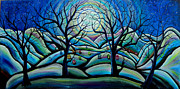 Fantasy Tree Art Painting Framed Prints - City InThe Heavens Framed Print by Shirley Smith
