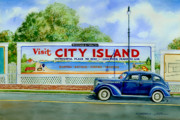 1930s Prints - City Island Billboard Print by Marguerite Chadwick-Juner