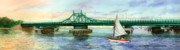 Bay Bridge Painting Metal Prints - City Island Bridge Late Afternoon Metal Print by Marguerite Chadwick-Juner