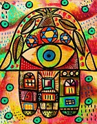 Hamas Paintings - City Life Hamsa by Sandra Silberzweig
