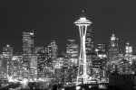 Seattle Skyline Framed Prints - City Lights 1 Framed Print by John Gusky