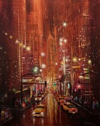 Rain Painting Framed Prints - City Lights 2 Framed Print by Tom Shropshire