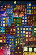 In-city Mixed Media Prints - City Lights By Night Print by Monica Engeler
