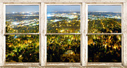Window Frame Framed Prints - City Lights White Rustic Picture Window Frame Photo Art View Framed Print by James Bo Insogna
