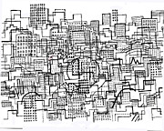 City Drawings Prints - City Lines 3 Print by Andy  Mercer