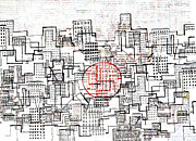 Abstract Design Drawings Prints - City Lines II  Print by Andy  Mercer