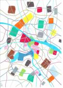 City Streets Drawings Prints - City map Print by Jeroen Hollander