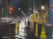 City Scape Paintings - City Night Lights by Marshall Desveaux