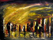 Soleil Couchant Paintings - City Night by Marchini Pierre paul