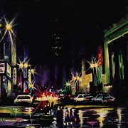 City Scape Paintings - City Nights by Gina Freehill