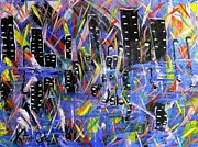 Night Out Paintings - City Nights by Katina Cote