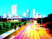 James R Granberry Framed Prints - City of Austin from the walk bridge Framed Print by James Granberry