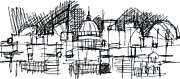 Skylines Drawings Originals - City of Chaos sketch by Zbigniew Rusin
