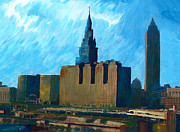 Cleveland Painting Posters - City of Cleveland Poster by Mary C Haneline