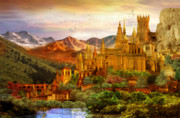 Magical Digital Art Prints - City of Gold Print by Karen Koski