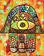 Hamas Paintings - City Of Jerusalem Hamsa by Sandra Silberzweig