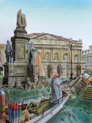 City Of Milan In Italy Under Water Print by Fabrizio Cassetta