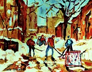 Streetscenes Paintings - City Of Montreal Hockey Our National Pastime by Carole Spandau