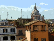 Rooftop Digital Art Prints - City of Rome Print by Mindy Newman
