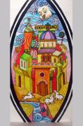 Medieval Glass Art - City of the Blue Flower. Preliminary experience for the first glass by Yuri Yudaev