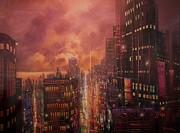 City At Night Paintings - City On The Lake by Tom Shropshire