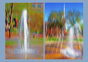 Blurs Mixed Media Prints - City Park Fountain Diptych Print by Steve Ohlsen