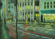 Traffic Pastels Prints - City Rain 10 Print by Paul Mitchell
