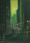 City Streets Pastels Prints - City Rain 8 Print by Paul Mitchell