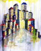 Kay Sawyer Framed Prints - City Rain Framed Print by Kay Sawyer