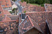 Old Houses Metal Prints - City roofs Metal Print by Heiko Koehrer-Wagner
