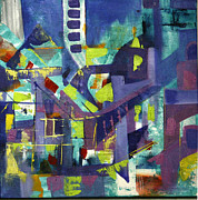 City Scape Paintings - City Scape 2 by John Vethamanickam