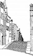 Street Drawings - City Scape by Karl Addison
