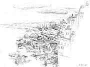 Arial Drawings - City Scape Philadelphia Pa by Elizabeth Carrozza