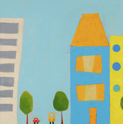 Kids Room Mixed Media Posters - City Scene 1 Poster by Laurie Breen