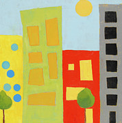 Kids Room Mixed Media Posters - City Scene 2 Poster by Laurie Breen