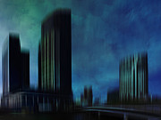 Horizontal Digital Art - City Shapes MELBOURNE I by Melanie Viola
