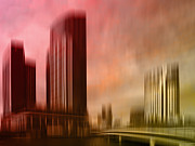 Colour Digital Art Prints - City Shapes MELBOURNE II Print by Melanie Viola