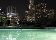 Silence Of Night Prints - City Skyline At Night Photgraphed From A Pool Print by Frank Rothe