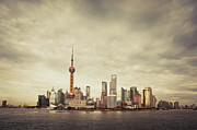 Communications Tower Framed Prints - City Skyline At Sunset, Shanghai, China Framed Print by Yiu Yu Hoi
