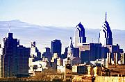 Skylines Digital Art Prints - City Skyline Philadelphia Print by Bill Cannon