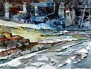 Snow Mixed Media Originals - City Snow Melts by Mindy Newman