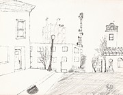 Robert Meszaros Drawings Metal Prints - City Street - Sketch Metal Print by Robert Meszaros