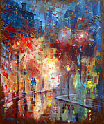Rain Painting Framed Prints - City Street Framed Print by Viola El