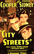 1930s Poster Art Photos - City Streets, Gary Cooper, Sylvia by Everett