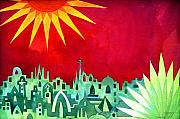 Mysterious Sun Art - City under a Red Sky by Jennifer Baird