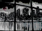 Reflecting Water Mixed Media Prints - City View Print by Carla Carson