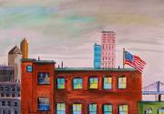 Red White And Blue Drawings - City Warehouse by John  Williams
