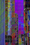 City Windows Abstract Pop Art Colors Print by Phyllis Denton